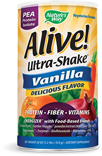 Nature's Way Alive! Pea Protein Ultra Shake + Fiber + Vitamins Energizer w/Food-Based Blends, Vanilla Flavored, 19.8 Oz.
