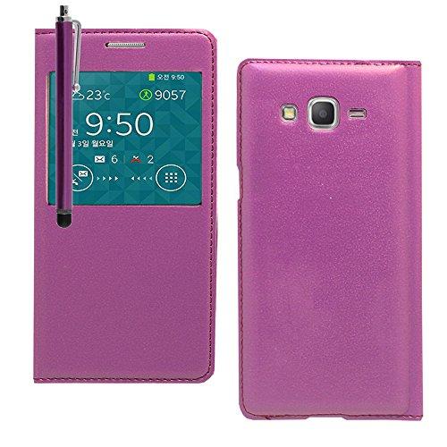 VComp-Shop® PU-Leder Schutzhülle mit Sichtfenster für Samsung Galaxy Grand Prime + Großer Eingabestift - VIOLETT