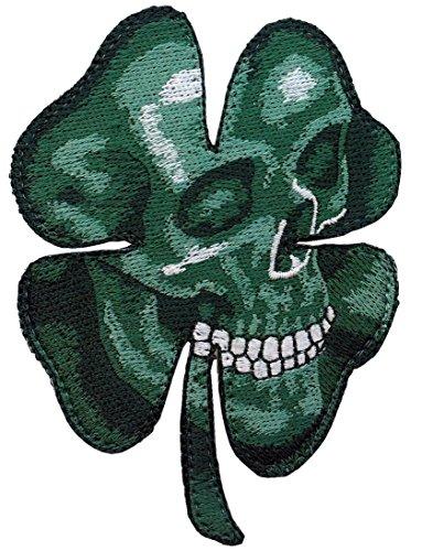 Trébol Calavera Clover Shamrock Camo Green Skull Morale Celtic Patch Iron On Parche Motero Táctico Bordado Termoadhesivo