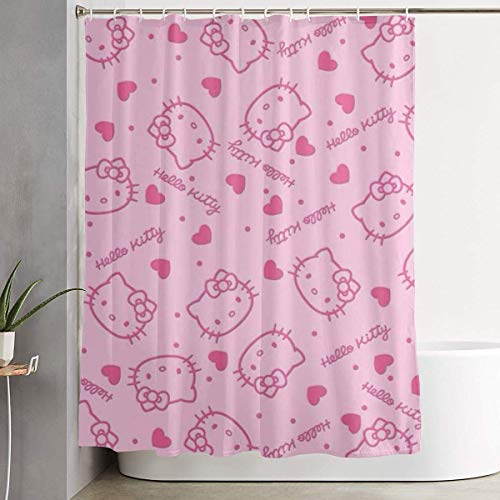 Pooizsdzzz Pink Hello Kitty Head Shower Curtain Decor for Men Women Boys Girls 60x72 in