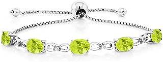 5.50 Ct Lemon Quartz Diamond 925 Sterling Silver Adjustable Tennis Bracelet
