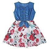 Enlifety Little Girls Denim Floral Print Dresses Sleeveless Summer Skirt One-Piece Twirl Sundress Size 3-4 Years Tutu Swing Frocks Stitching Clothes