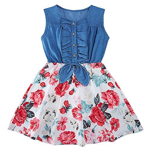 AIDEAONE Kleid für Mädchen Denim Kinder Sommerkleid Rock Ärmelloses Sommerkleid mit Blumendruck 4-5 Jahre