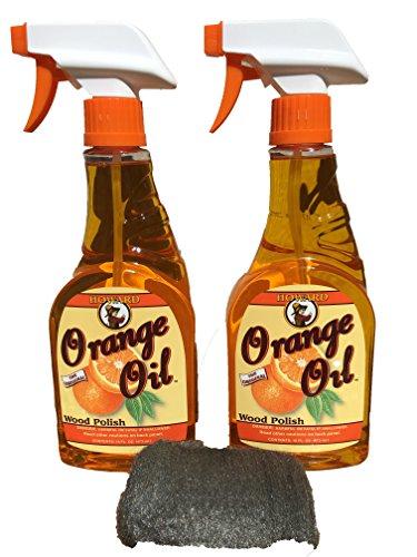 Howard Orange Oil 16 Ounce X Two Bottles, Clean Kitchen Cabinets, Best Hardwood Floor Cleaner, Orange Wood Cleaner