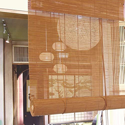 GDF Bamboe blind natuurlijke Romeinse bamboe gordijnen lichtbruin jaloezieën golfvormig rolgordijn 110 cm breed zonlicht filteren lichtdoorlatendheid 40% geschikt voor binnen en buiten