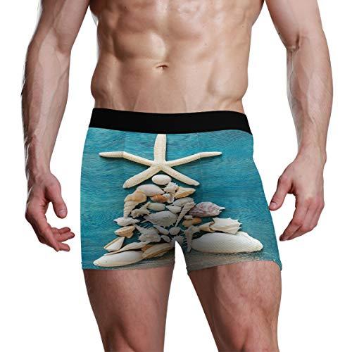 DXG1 Herren Boxershorts mit Weihnachtsbaum-Muscheln und Seestern, Größe S, M, L, XL Gr. M, Mehrfarbig