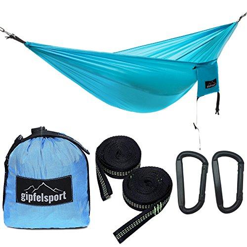 gipfelsport Hängematte - Outdoor Reisehängematte mit Aufhängeset, 2xGurte, blau