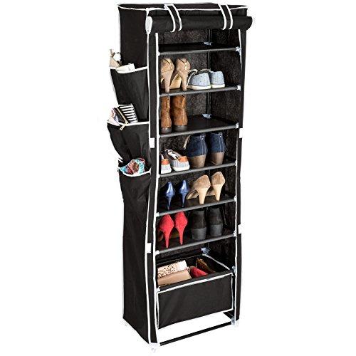 TecTake Schuhschrank Schuhregal Stoffschuhschrank mit 6 Fächern + 1 Hängekorb | inkl. 6 Seitentaschen | für 12 Paar Schuhe | 50 x 162 x 33 cm | -Diverse Farben- (Schwarz | Nr. 402536)