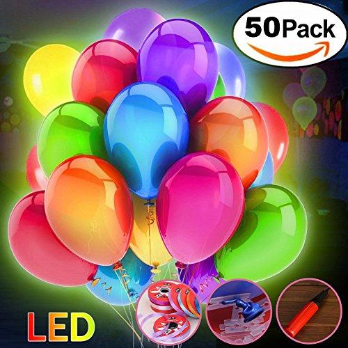 Flow.month 50 Stücke LED Leuchtende Luftballons Blinkendes Licht für Hochzeit Party/Geburtstag/Festival/Weihnachten Dekoration mit Bunte Ballons
