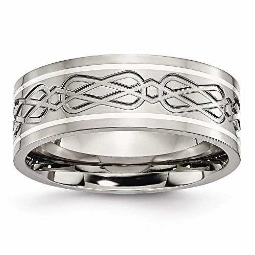 Titanium 925 Sterling Silver Inlay Irish Claddagh Celtic Knot Flat 8mm Wedding Ring Band Size 9.00 Designed Precious Metal Fine Jewelry For Women Gifts For Her