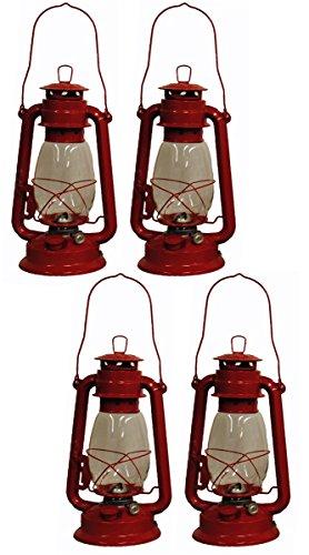 Shop4Omni Red Hurricane Kerosene Oil Lantern Emergency Hanging Light/Lamp - 12 Inches (4)