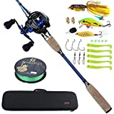 Sougayilang Fishing Baitcasting Combos, Lightweight Carbon Fiber Fishing Pole and 11+1BB Fishing Reel