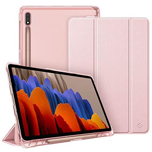 FINTIE Funda para Samsung Galaxy Tab S7 11' 2020 con Soporte para S Pen - Trasera Transparente Mate Carcasa Ligera con Auto-Reposo/Activación para Modelo SM-T870/T875, Oro Rosa