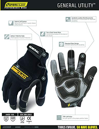 Ironclad General Utility Work Gloves GUG, All-Purpose, Performance Fit, Durable, Machine Washable, (1 Pair), Extra Large - GUG-05-XL