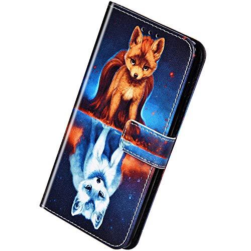 Herbests Kompatibel mit Huawei Mate 20 Lite Handyhülle Hülle Flip Case Bunt Muster Leder Tasche Schutzhülle Klappbar Bookstyle Lederhülle Ledertasche mit Magnet Kartenfach,Fuchs
