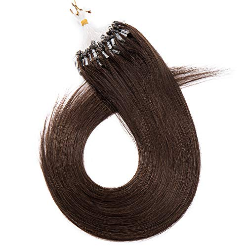 """Extension Loops Naturels Extensions Cheveux a Froid [1g * 50 Mèches] Anneau Rajout Cheveux Humains Micro Beads Ring 100% Remy Hair - 22""""/55CM 04#Marron Chocolat"""
