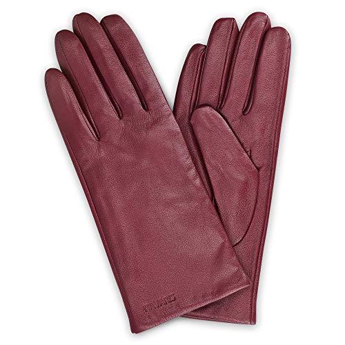 Navaris Gant tactile femme - Paire de gants en cuir agneau avec doublure cachemire pour écran tactile téléphone - 7.5 M - Bordeaux