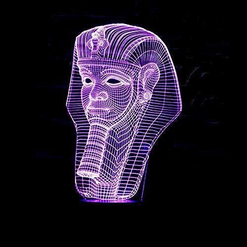 Pharaoh Head 3D Illusion Lamp Luce notturna 3D per ragazze dei ragazzi Lampada da tavolo da tavolo 16 Lampada decorativa con cambio di colore Regali Festa di compleanno Natale per adolescenti Ami