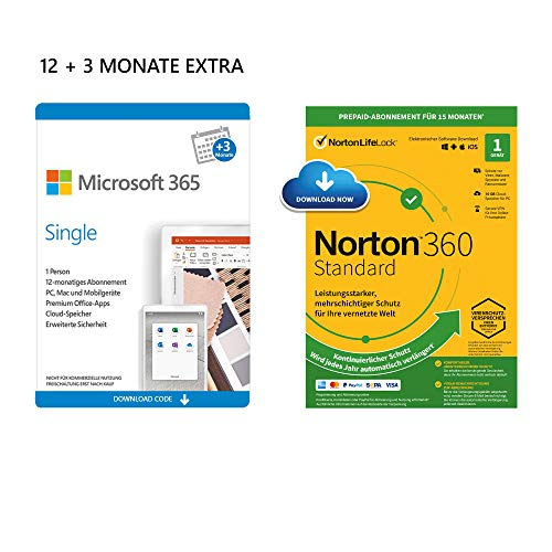 Microsoft 365 Single 12+3 Monate | 1 Nutzer | Mehrere PCs/Macs, Tablets und mobile Geräte | Download Code + NORTON 360 Standard | 1 Gerät | 15 Monate mit Automatischer Verlängerung| Download Code