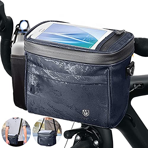 Xionghonglong Bolsa Manillar Bicicleta con Pantalla táctil,bolsa manillar impermeable,Bolsa Delantera Bici,Bolsa Bicicleta con Bandolera,Bolsa Bicicleta Cuadro,porta móvil bicicleta bolsa (A)