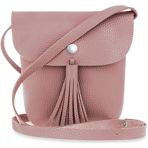 Unbekannt Messenger Tasche Boho kleine Damenhandtasche mit Fransen und Klappe (Rosa)