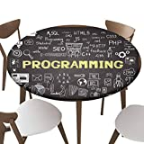 "SfeatrutMAT Elastic Edged Polyester Fitted Table Cover,Hand Drawn About Programming on Chalkboard,Fits up 40""-44"" Diameter Tables,The Ultimate Protection for Your Table"