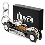 Smart Compact Key Holder & Key Organizer Keychain-Pro with Premium Accessories and Smart Key Ring/loop for Car Keys & Pocket Key Holder, Bottle Opener and Carabiner up to 14 Keys (Black)