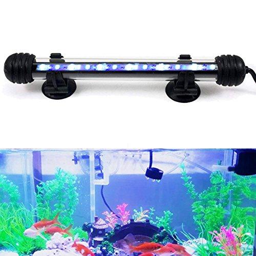 DOCEAN 2W 18cm LED Aquarium Beleuchtung Aquarium Lampe Aquariumleuchte IP68 Wasserdicht Unterwasserleuchte, Weiß + Blau Licht