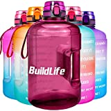 BuildLife Gallon Motivational Water Bottle Wide Mouth with Time Marker/Flip Top Leakproof Lid/One Click Open/Large BPA Free Capacity for Fitness Goals and Outdoor(Bright Purple, 1 Gallon)