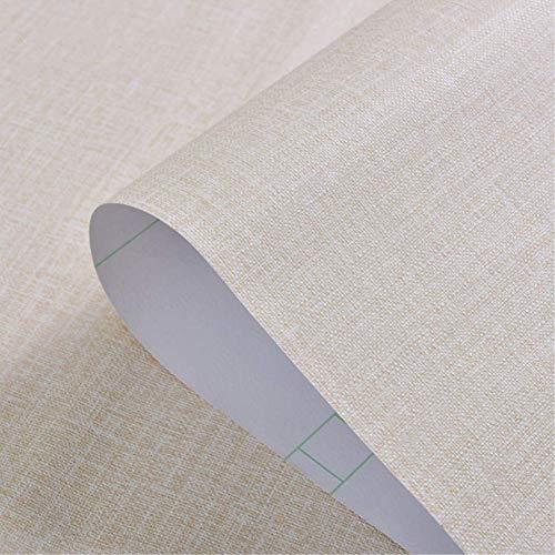 Yija Self-Adhesive Linen Cream Color Pattern Waterproof Shelf Drawer Liner Cabinet Sticker,Wallpaper 15.6Inch by 98Inch