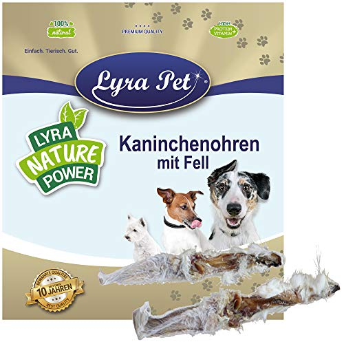Lyra Pet® 1 kg Kaninchenohren 1000 g mit Fell Kauartikel Hase Hasenohren Hundefutter