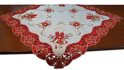 Square Red White and Gold Embroidered Christmas Bells Centerpiece Doily