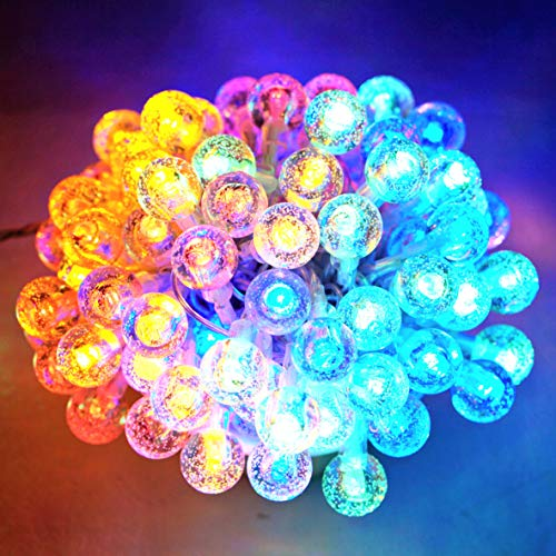Globe Fairy String Lights 80LED 33 FT Crystal Ball Lights USB Powered 8 Modes Remote Decorative Lighting for Christmas Wedding Party Bedroom Patio Shop Photograph Props (Multicolor)