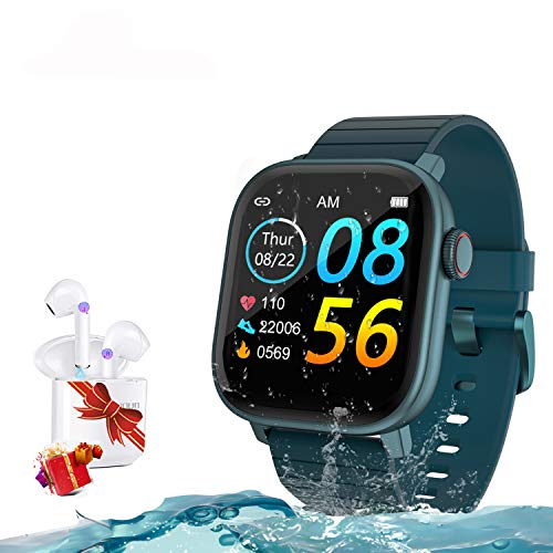 Smartwatch Reloj Resistente Hombre Mujer Niños Monitor Pulso Cardiaco Pulsera Actividad Reloj Inteligente Cardio Podómetro Bluetooth Reloj Deportivo Rastreadores Cronómetro para Android iOS(verde)