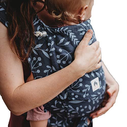 LIMAS Babytrage Halfbuckle   50-86 cm   Bauchtrage & Rückentrage & Hüfttrage   ab Geburt bis Kleinkindalter   Baby Carrier   Flora Midnight Blue