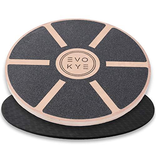 EVO KYE Balance Board (rotondo) con base antiscivolo, dispositivo di equilibrio in legno stabile e di alta qualità, dispositivo sportivo ottimale per la casa