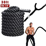ZELUS Battle Ropes Pure Poly Dacron Exercise Ropes - 1.5/2 inches Diameter 30/40/50 ft Length...