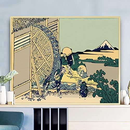 AJleil Puzzle 1000 Piezas Pintura Rueda hidráulica Arte Pintura acrílica en Juguetes y Juegos Educativo Divertido Juego Familiar para niños adultos50x75cm(20x30inch)
