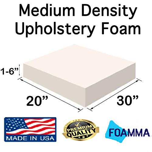 Big Save! FOAMMA 1 x 20 x 30 Upholstery Foam Medium Density Foam (Chair Cushion Square Foam for D...