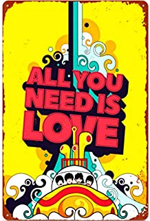 Molaca All You Need is Love tin Sign Metal Cafe Home Wall Art Decoration Poster Retro 8x12 inches