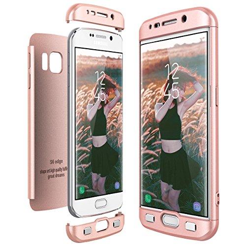 CE-Link Cover Samsung Galaxy S6 Edge 360 Gradi Full Body Protezione, Custodia Galaxy S6 Edge Silicone Rigida 3 in 1 S6 Edge - Rosa