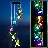 MMTX Campanas de Viento solares LED al Aire Libre, Campanas de Viento de colibrí Que cambian de Color para la decoración del jardín Regalos Fiesta en el hogar