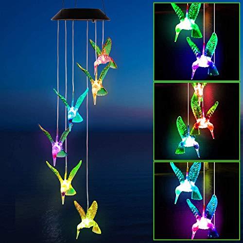 Solarleuchten Windspiele für Außen mit Farbwechsel Solar LED Schmetterling Windspiele Beleuchtung,Hängeleuchte Deko für Terrasse/Garten Party/Baum,Geburtstag Weihnachts Geschenk für Mama