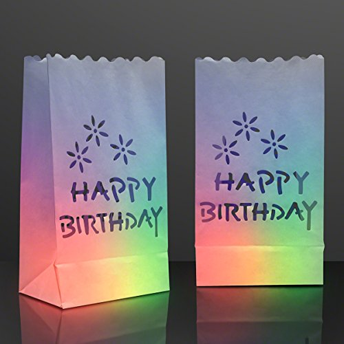 FlashingBlinkyLights Happy Birthday Luminary Bags for LED Candles (Pack of 24)