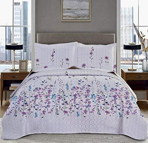 Lilac Bedding Full/Queen Size Bedspread Set Summer Purple Lilac Floral Quilts Coverlet with Queen Pillow Shams,Lightweight Thin Flower Bedding Cover-Purple White,Random Pillow Shams