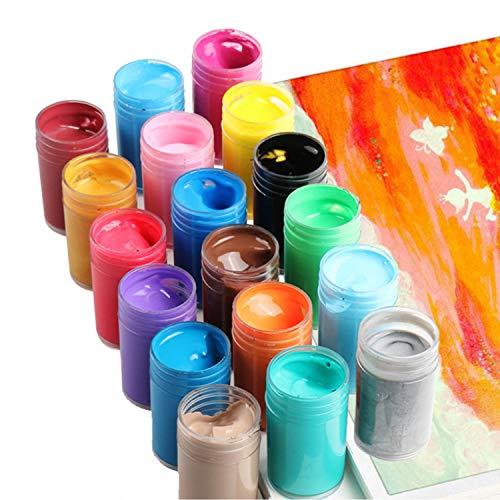 yoyoblue Acrylfarben Set - 24 Ölfarben je 25 ml mit 3 Pinsel, Hochwertige Ungiftige, für Steine DIY, Stoff, Textilien, Holz, Blumentopf, Kunstbedarf für Kinder und Erwachsene