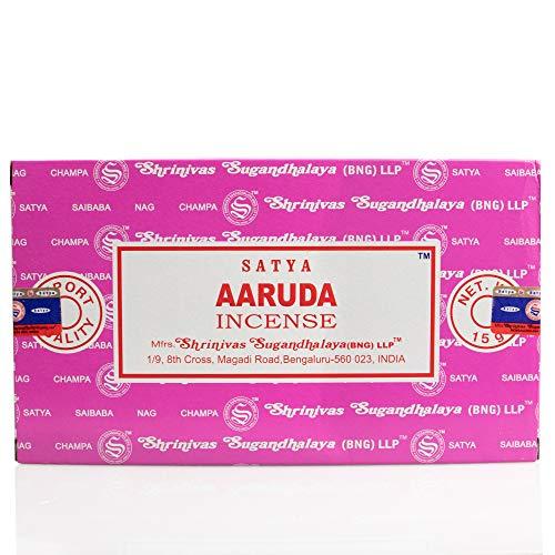 Aaruda Satya Shrinivas Sugandhalaya - Set 12 bastonicini di incenso da 15 g, 180 g