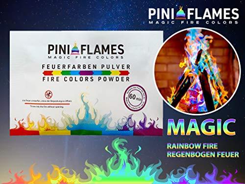 PINI FLAMES Feuerfarben Pulver 10 Päckchen x 25 Gr. Bunte Flamme für Lagerfeuer Kamin Feuerschale Fire Colors Powder