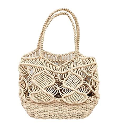 Damen Sommer gewebte Baumwolle Seil Strand Tote Tasche Top Griff Crochet Hollow Out Schulter Handtasche Böhmische Reise Angeln Netz Einkaufstasche gewebte Baumwolle Seil Strandtasche