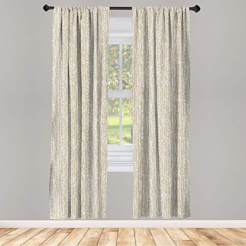 """Ambesonne Birch Tree Window Curtains, Forest Fresh Foliage Nature Abstract Trunks Black Spots, Lightweight Decorative Panels Set of 2 with Rod Pocket, 56"""" x 63"""", Tan Green"""